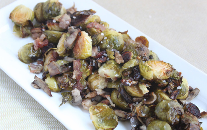 Lemon-Glazed Roasted Brussels Sprouts with Mushroom Medley